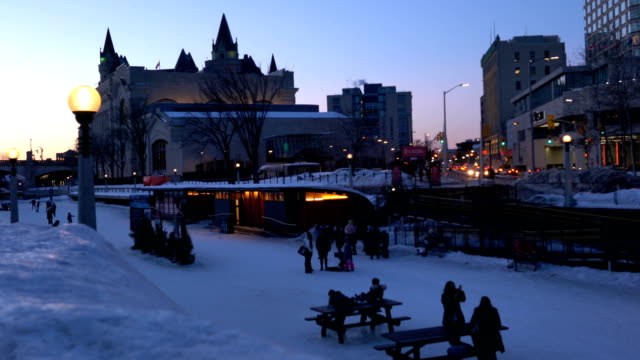 lights on the rideau canal in ottawa - rideau canal stock videos & royalty-free footage