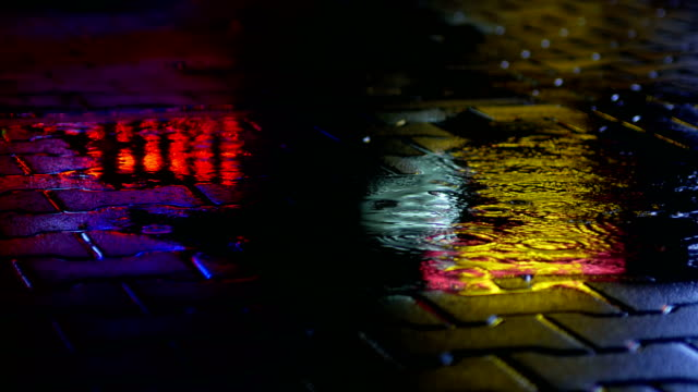 lights reflection  on paving, night - sidewalk stock videos & royalty-free footage