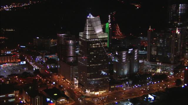 Lights shine on the Terminus 100 in Buckhead, Atlanta, Georgia.
