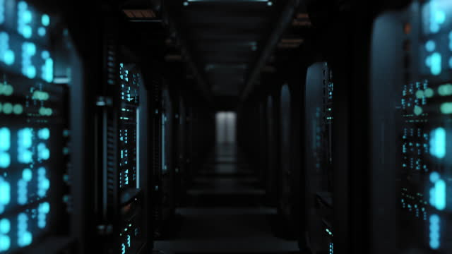 lights turning on in a server room - dark stock videos & royalty-free footage