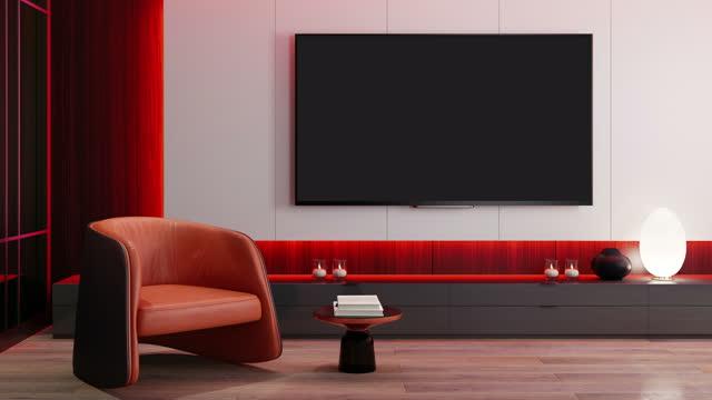 rgbライトイエローレッドループ - 8kテレビ付きテレビルームモダンミニマリストインテリア - ペントハウス点の映像素材/bロール