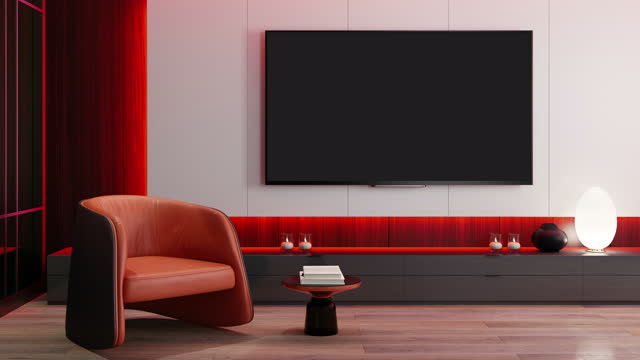 rgb lights yellow red on off fast loop -  tv room modern minimalist interior with 8k tv - high definition television television set stock videos & royalty-free footage