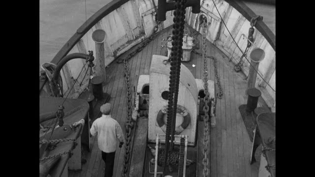 reenactment lightship sailors on deck, observing passing ships through binoculars, and turning off automated fog warning horns / england, united kingdom - historical reenactment stock videos and b-roll footage