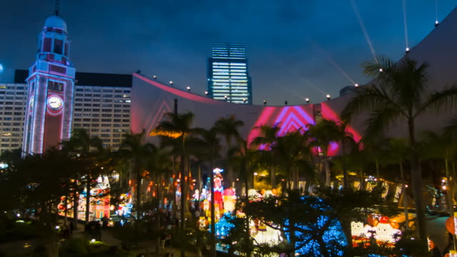lightshow tsim sha tsui, kowloon, hong kong at night, ambient audio - tsim sha tsui stock videos & royalty-free footage