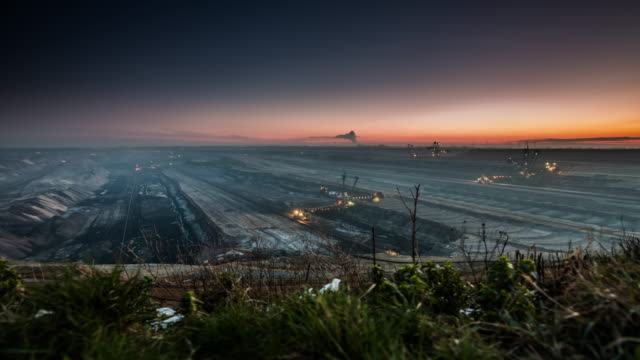 lignite surface mine - timelapse tracking shot - coal mine stock videos & royalty-free footage