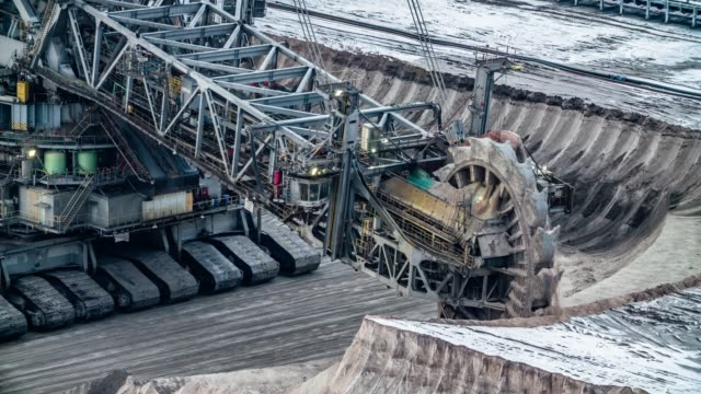 lignite surface mine with giant bucket wheel excavator - construction vehicle stock videos and b-roll footage