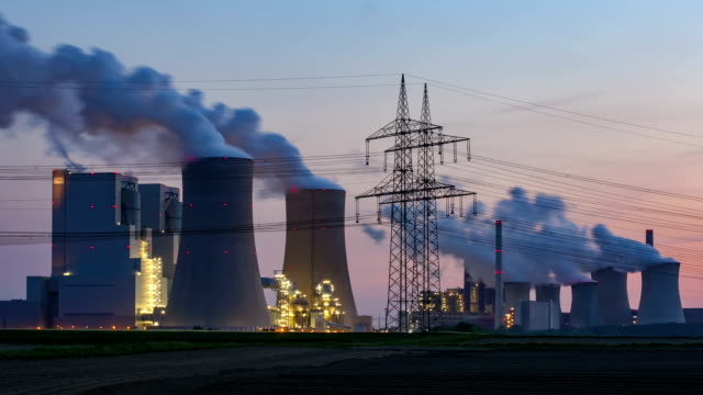 Lignite-fired power station at dusk