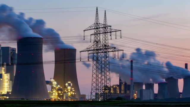 Lignite-fired power station at dusk