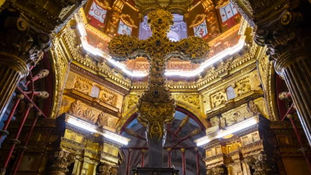 "lignum crucis , the largest surviving piece of the true cross.,  monastery of santo toribio de liébana, ""the holy road lebaniego"", liébana valley, cantabria, spain, europe - spanish culture stock videos & royalty-free footage"