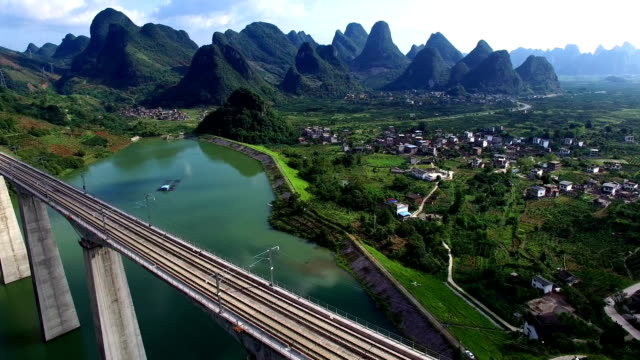 lijiang river and guilin high speed rail - guilin stock videos & royalty-free footage