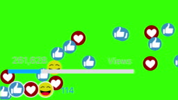 Likes Being Counted with Thumbs-Up Icons on a Social Network Page. Green screen and Green Background.