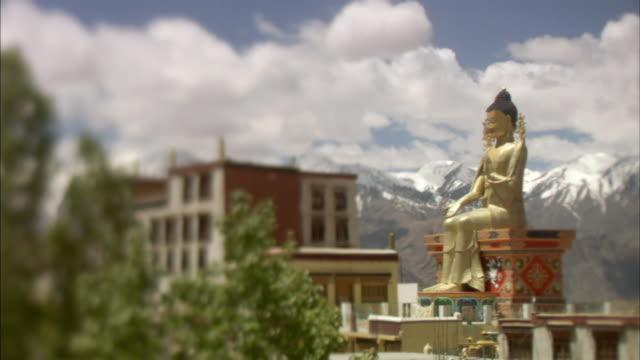 MS, SELECTIVE FOCUS, Likir Monastery with Golden Buddha statue, Ladakh, Jammu and Kashmir, India