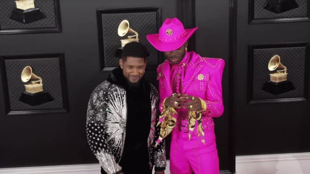 lil nas x and usher at the 62nd annual grammy awards at staples center on january 26, 2020 in los angeles, california. - grammy awards stock-videos und b-roll-filmmaterial