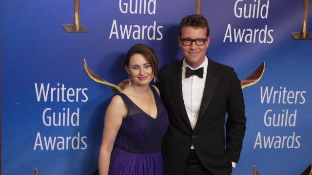 lila byock and sam shaw at the 2020 writers guild awards at the beverly hilton hotel on february 01 2020 in beverly hills california - the beverly hilton hotel stock videos & royalty-free footage