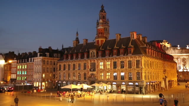 lille old stock exchange at night - lille stock videos & royalty-free footage