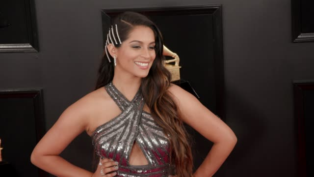 stockvideo's en b-roll-footage met lilly singh at the 61st grammy awards arrivals at staples center on february 10 2019 in los angeles california – editorial - grammy awards