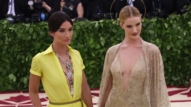 lily aldridge and rosie huntington whiteley at heavenly bodies: fashion & the catholic imagination costume institute gala at the metropolitan museum... - heaven stock videos & royalty-free footage
