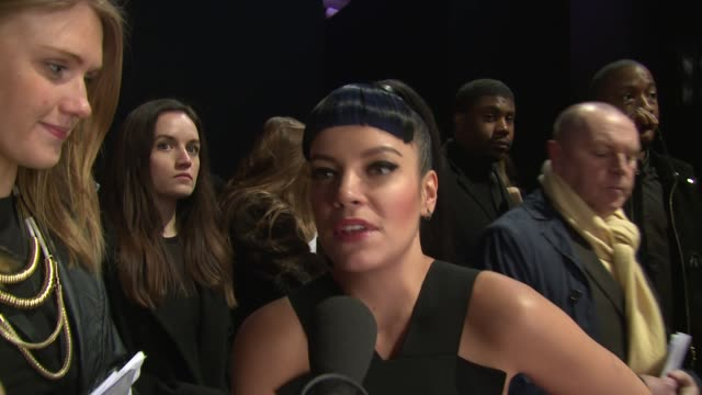 interview lily allen on playstation at elle style awards arrivals at one embankment on february 18 2014 in london england - embankment stock videos and b-roll footage