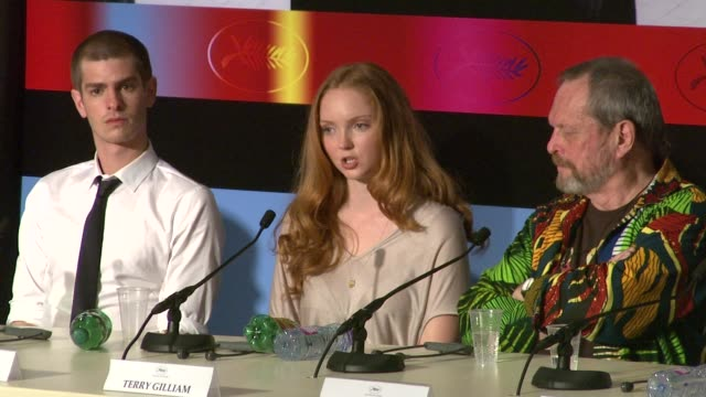 stockvideo's en b-roll-footage met lily cole on terry gilliam as a director at the cannes film festival 2009 the imaginarium of dr parnassus press conference at cannes - terry gilliam