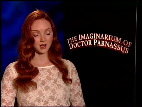 lily cole on working with terry gilliam. at the 'the imaginarium of doctor parnassus' junket at beverly hills ca. - terry gilliam stock videos & royalty-free footage