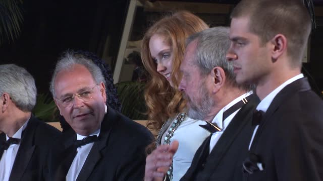 stockvideo's en b-roll-footage met lily cole terry gilliam and andrew garfield at the cannes film festival 2009 the time that remains steps at cannes - terry gilliam
