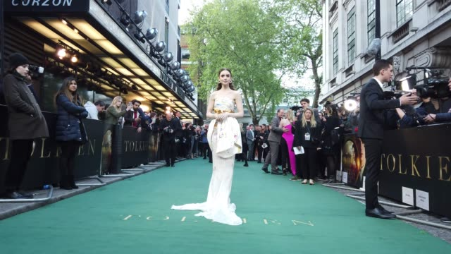 stockvideo's en b-roll-footage met lily collins at 'tolkien' uk premiere on april 29 2019 in london united kingdom - première