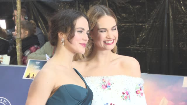 BROLL Lily James and Jessica Brown Findlay at The Guernsey Literary and Potato Peel Pie Society World Premiere at The Curzon Mayfair on April 9 2018...