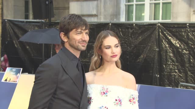 BROLL Lily James and Michiel Huisman at The Guernsey Literary and Potato Peel Pie Society World Premiere at The Curzon Mayfair on April 9 2018 in...
