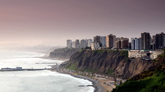 lima peru sunset miraflores - south america stock videos & royalty-free footage