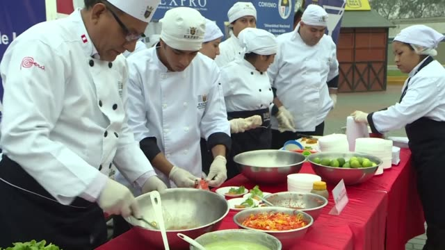 lima residents enjoy free ceviche a classic peruvian dish made with raw seafood and marinated in lemon juice at an event hosted by the city to... - marinated stock videos and b-roll footage