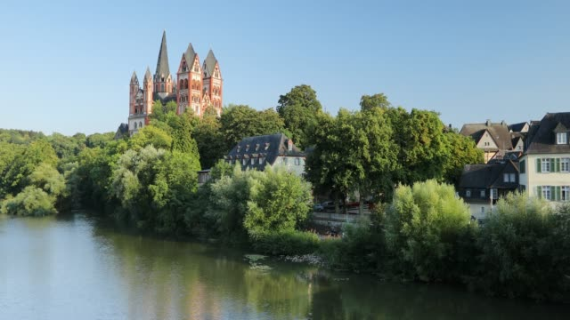 limburg cathedral and river lahn, limburg, hesse, germany - circa 13th century stock videos & royalty-free footage