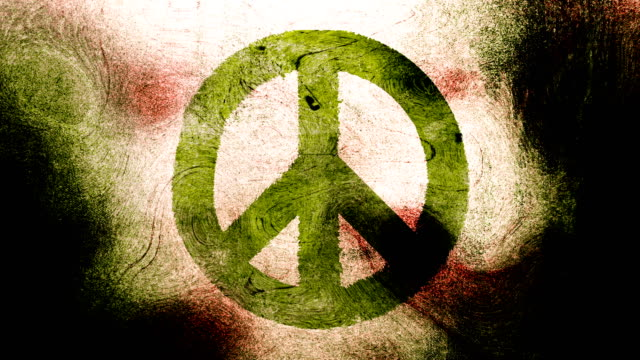 Lime green, peace symbol on a high contrasted grungy and dirty, animated, distressed and smudged 4k video background with swirls and frame by frame motion feel with street style for the concepts of peace, world peace, no war, protest, and tranquility