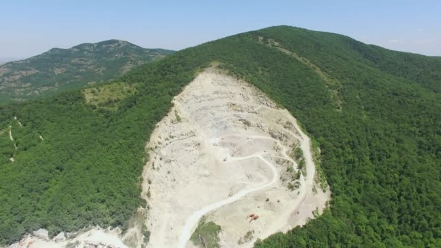 AERIAL: Lime open-pit mine in mountains