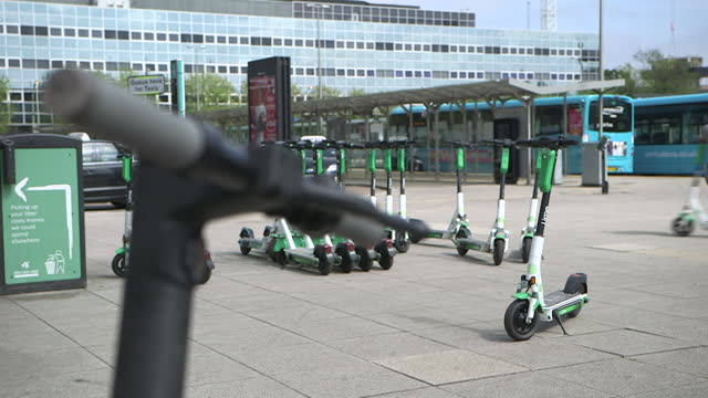 lime rental electric scooters, london - environmental issues stock videos & royalty-free footage