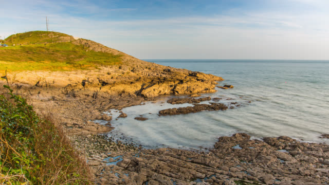 limeslade bay in mumbles at low tide. - low tide stock videos & royalty-free footage