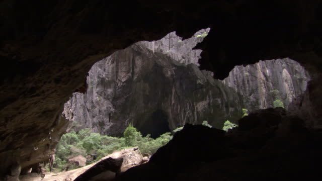 limestone cave entrance, ankarana, madagascar - cave stock videos and b-roll footage
