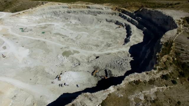aerial: limestone quarry - bulldozer stock videos and b-roll footage