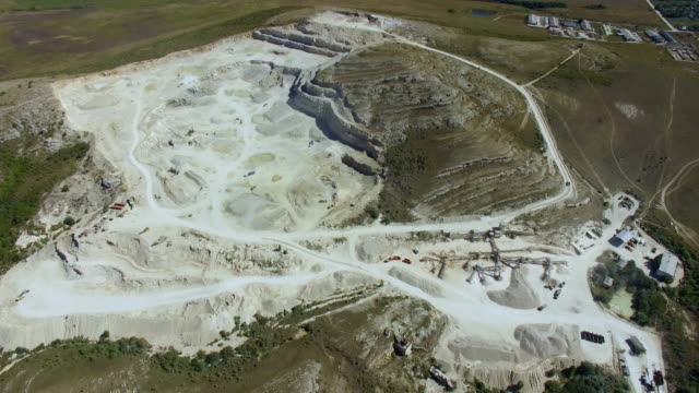 aerial: limestone quarry - quarry stock videos and b-roll footage