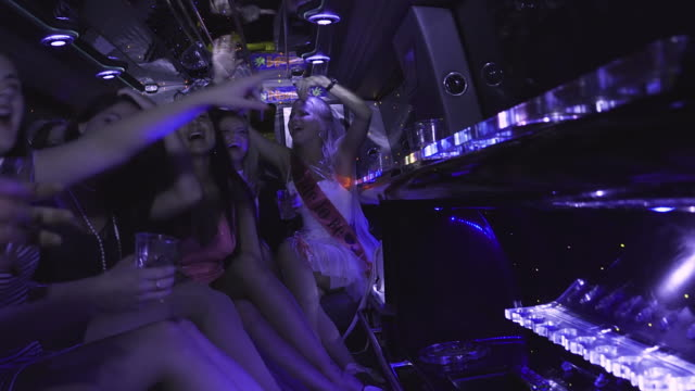 limousine hen party - limousine stock videos & royalty-free footage