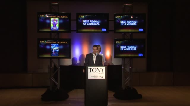 lin- mauel miranda announces the nominees for best revival of a play and best revival of a movie at the 2009 tony award nominations at new york ny. - revival stock videos & royalty-free footage