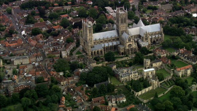 lincoln cathedral  - aerial view - england, lincolnshire, lincoln district, united kingdom - abraham lincoln stock videos & royalty-free footage