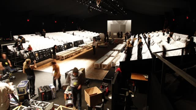 lincoln center fashion week runway construction at the theatre runway and tent lobby - timelapse - spring 2012 mercedes-benz fashion week at new york... - mercedes benz fashion week stock videos & royalty-free footage