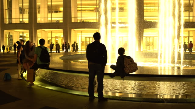 (Night Time) Lincoln Center Fountain, Tourists, Manhattan NYC