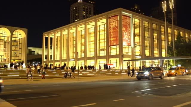 lincoln center night exterior, new york philharmonic, columbus avenue - manhattan nyc - scott mcpartland stock videos & royalty-free footage