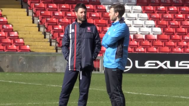 Lincoln City players train ahead of their FA Cup quarter final match against Arsenal including manager Danny Cowley Bradley Wood Luke Waterfall Terry...