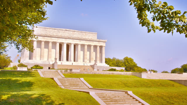lincoln memorial on a hill. mountain. tree leafs. - lincoln memorial stock videos & royalty-free footage