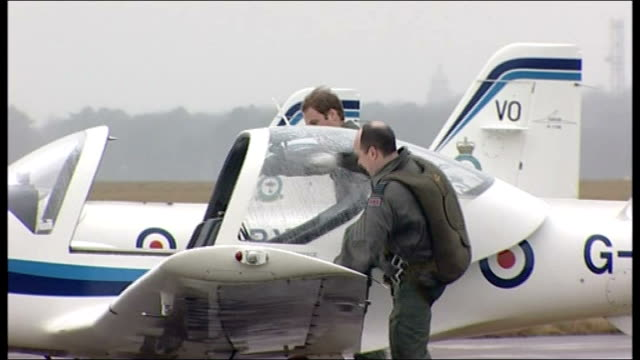 lincolnshire raf cranwell prince william into light aircraft with instructor during raf pilot training - raf stock videos and b-roll footage
