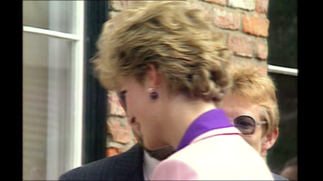 lincolnshire: various shots princess diana on visit to another hospice - lincolnshire stock videos & royalty-free footage