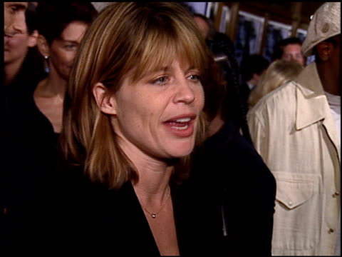 linda hamilton at the premiere of 'the long kiss goodnight' at the mann national theatre in westwood california on october 7 1996 - mann national theater stock videos and b-roll footage