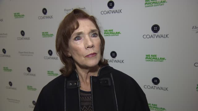 interview linda marlowe on her new role in eastenders and the charity at coatwalk runway fashion show - eastenders stock videos and b-roll footage